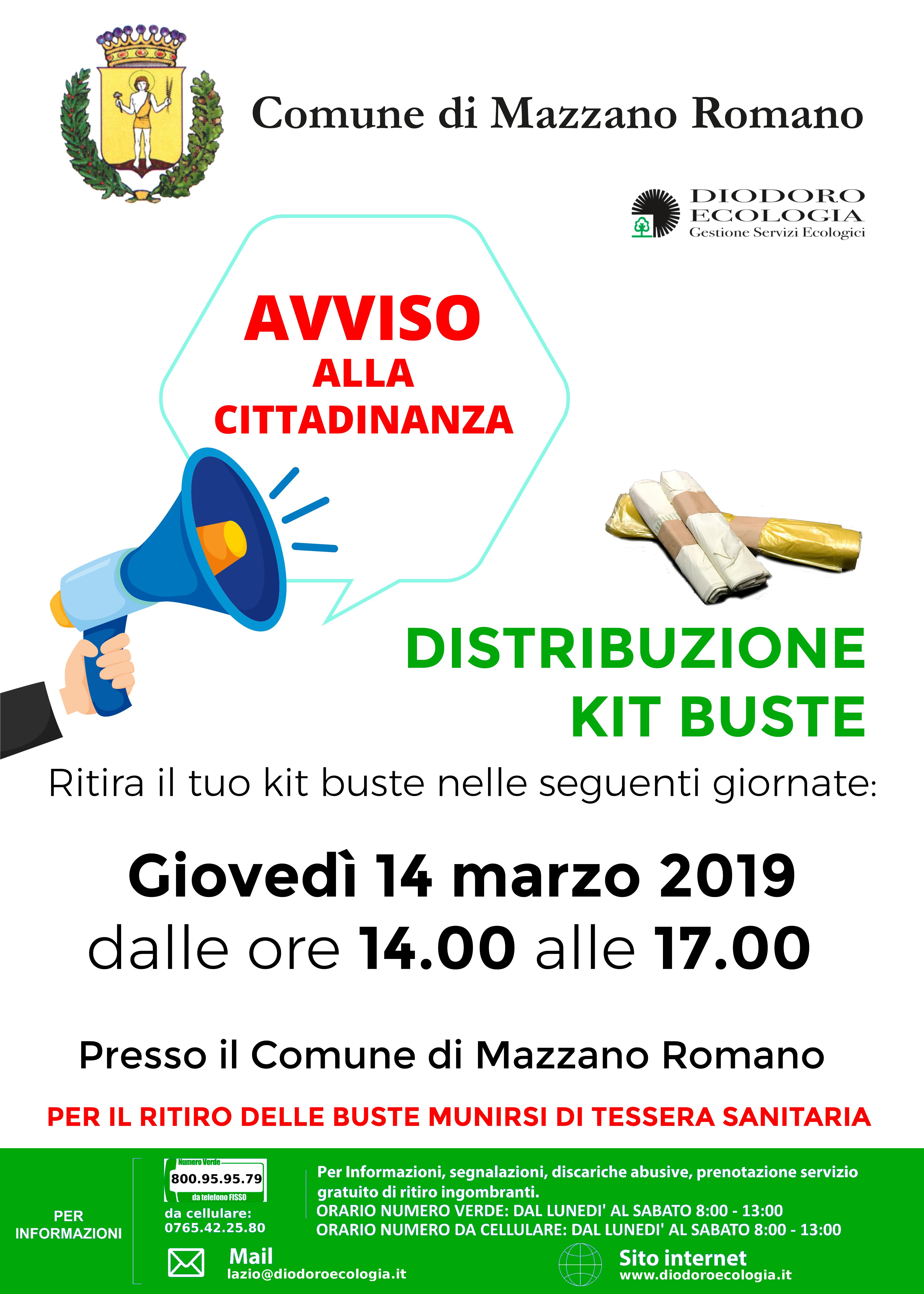 Mazzano Romano: distribuzione buste