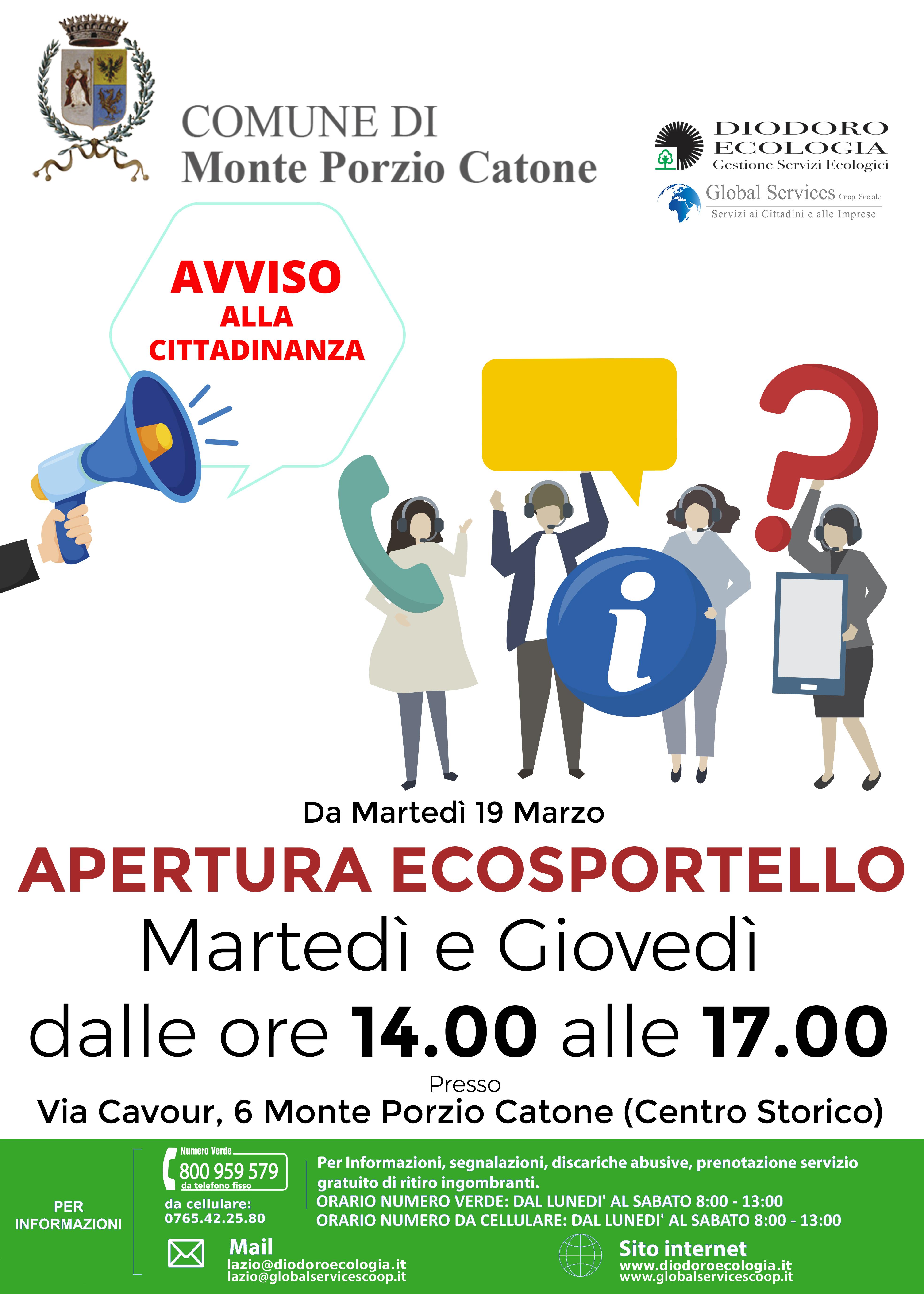 Monte Porzio Catone: Apertura Ecosportello