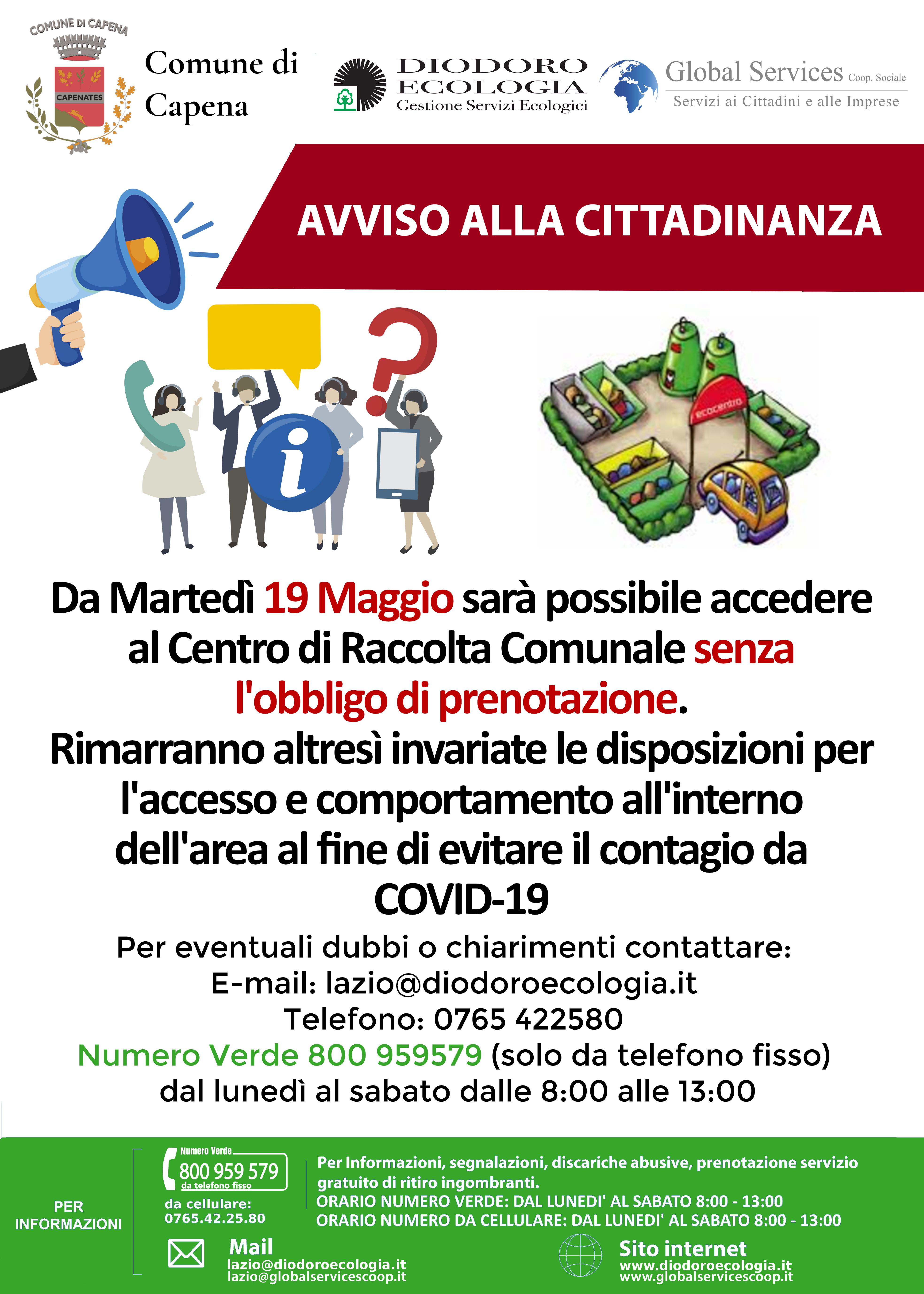 CAPENA: ACCESSO AL CENTRO DI RACCOLTA SENZA PRENOTAZIONE