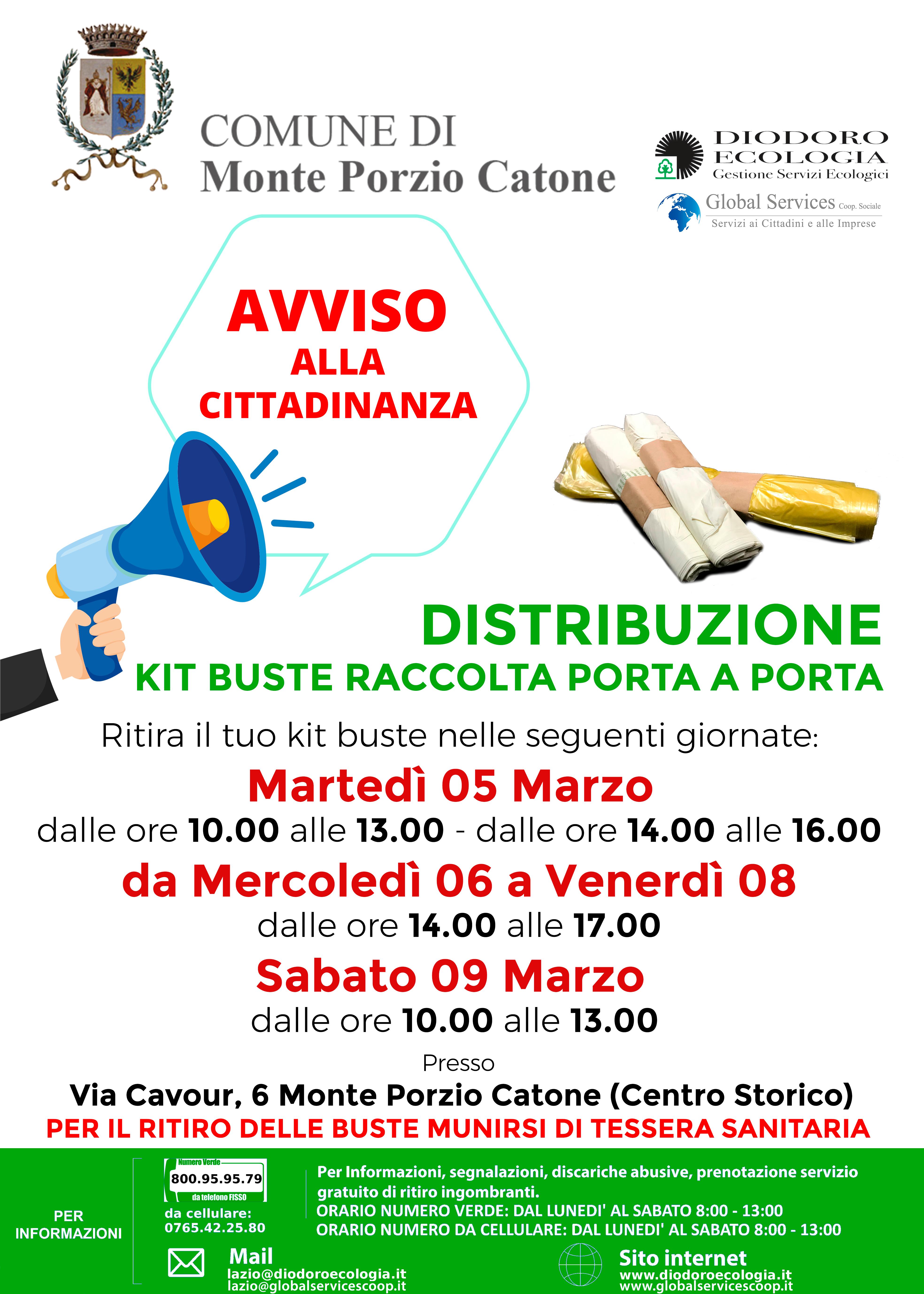 Monte Porzio Catone: Distribuzione kit buste raccolta