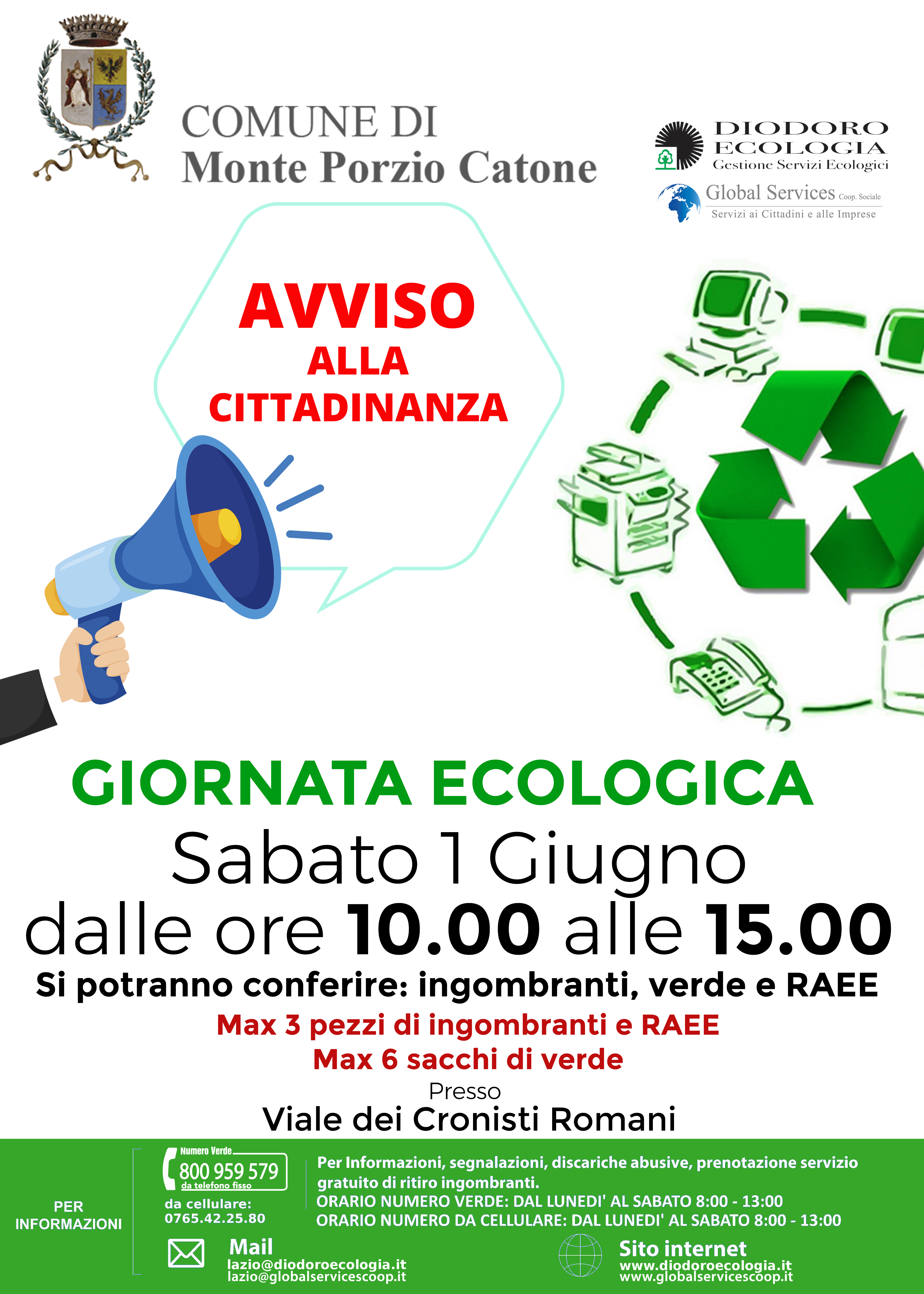 Monte Porzio Catone: Giornata Ecologica 1 Giugno 2019