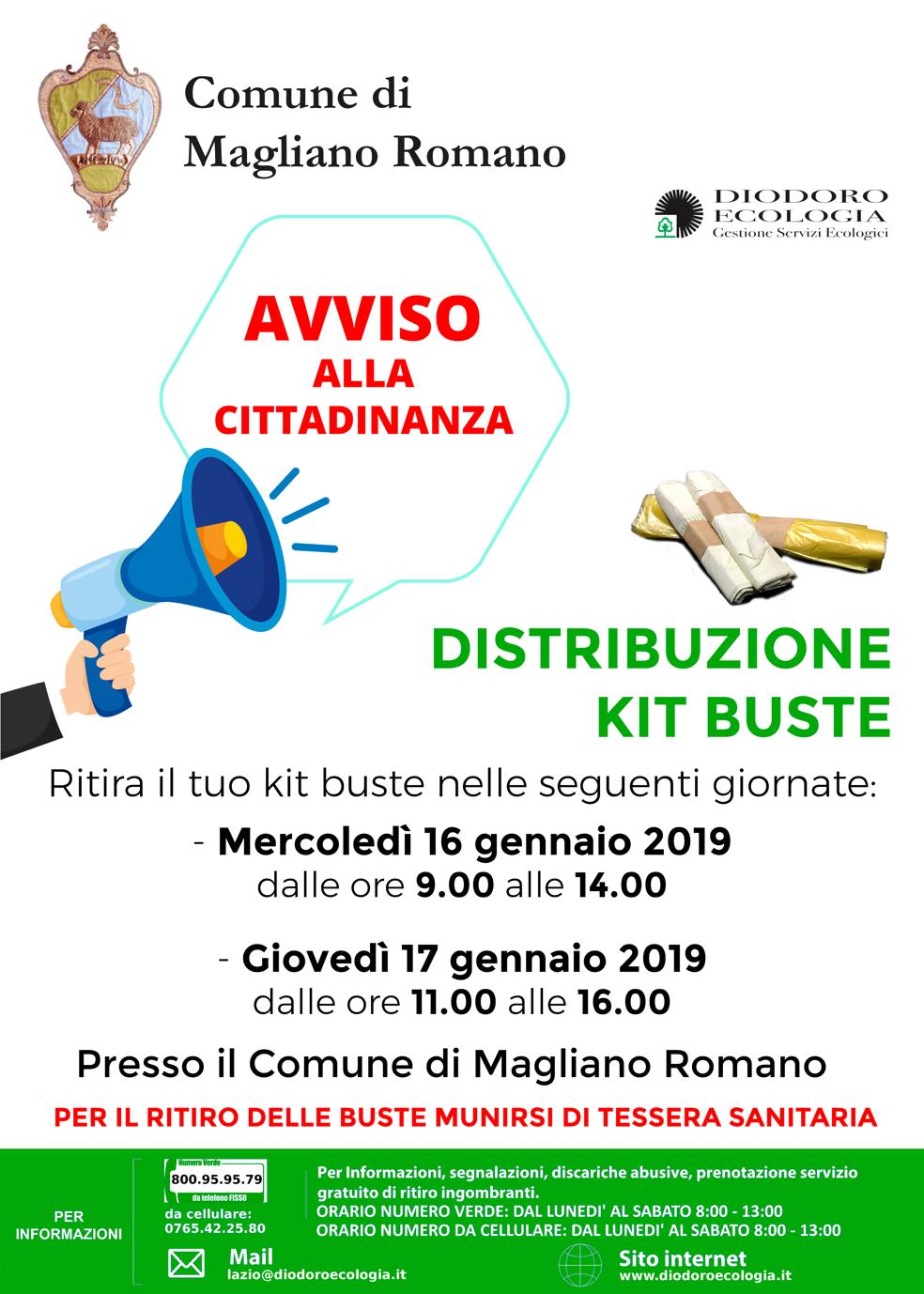 Distribuzione buste Magliano Romano