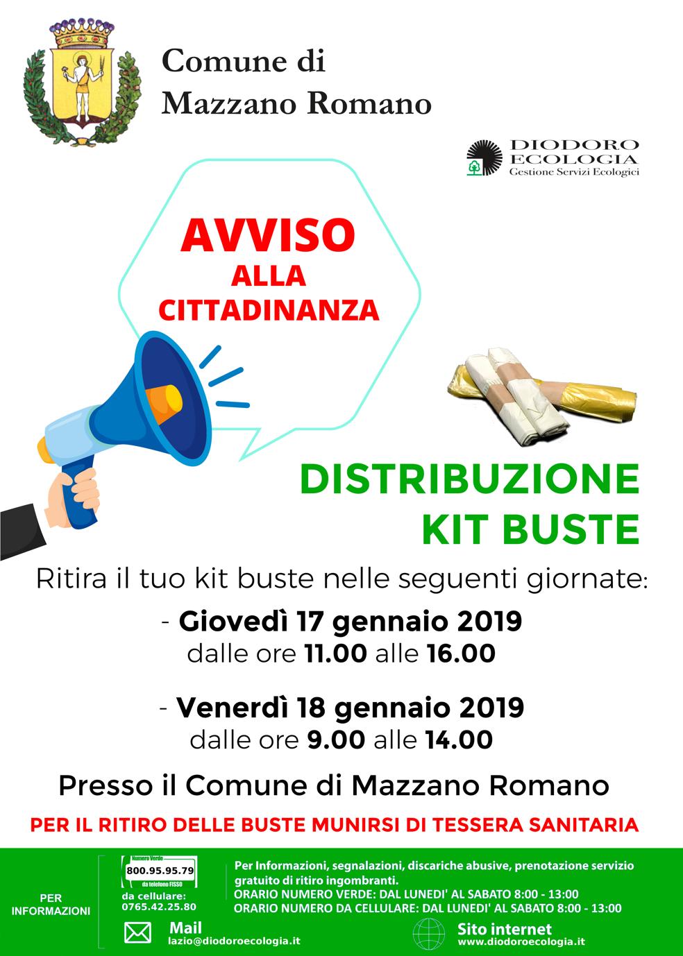 Distribuzione buste Mazzano Romano